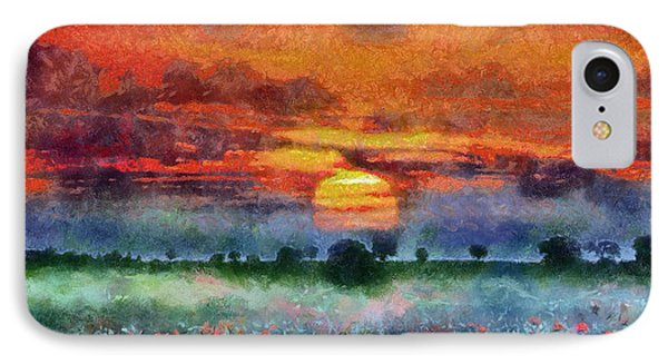 IPhone Case featuring the painting Sunset by Georgi Dimitrov