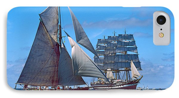 Tall Ship Regatta In The Baie De IPhone Case by Panoramic Images