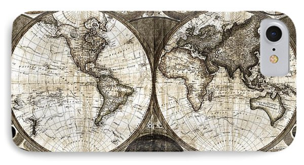 Terraqueous Globe - Map Of The World Phone Case by EricaMaxine  Price
