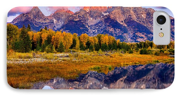 IPhone Case featuring the photograph Tetons Reflection by Aaron Whittemore
