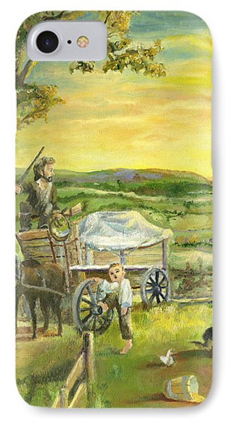 IPhone Case featuring the painting The Farm Boy And The Roads That Connect Us by Mary Ellen Anderson