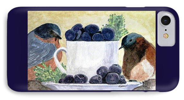 IPhone Case featuring the painting The Temptation Of Blueberries by Angela Davies