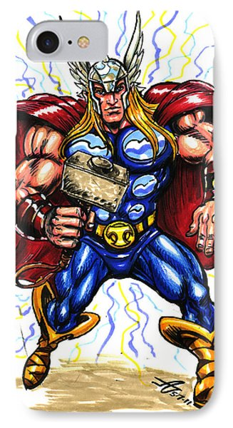 IPhone Case featuring the drawing Thor  by John Ashton Golden