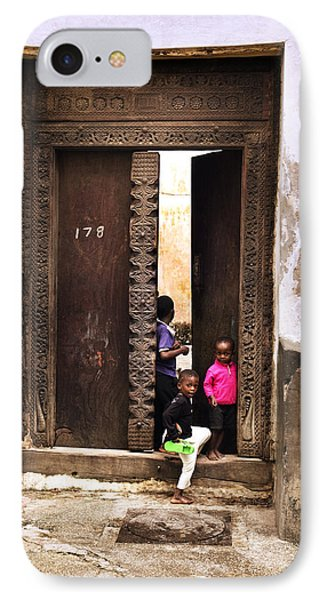 IPhone Case featuring the photograph Kids Playing Zanzibar Unguja Doorway by Amyn Nasser