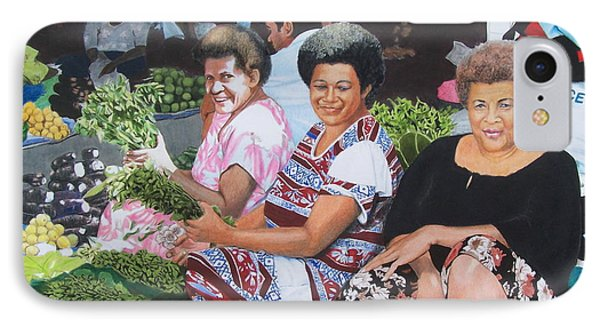 IPhone Case featuring the mixed media Three Nice Ladies At A Fiji Market by Constance Drescher