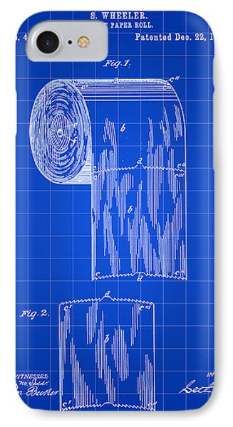 Toilet Paper Roll Patent 1891 - Blue IPhone Case by Stephen Younts