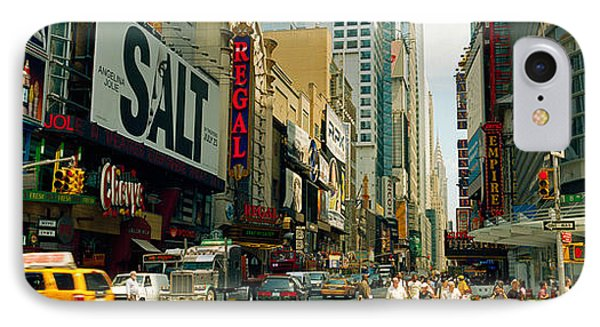 Traffic In A City, 42nd Street, Eighth IPhone Case by Panoramic Images