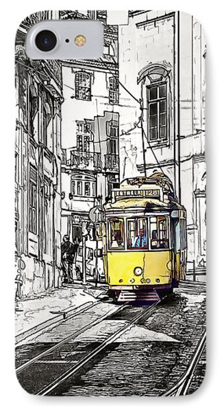 Lisbon Tram 28 IPhone Case by Marion McCristall