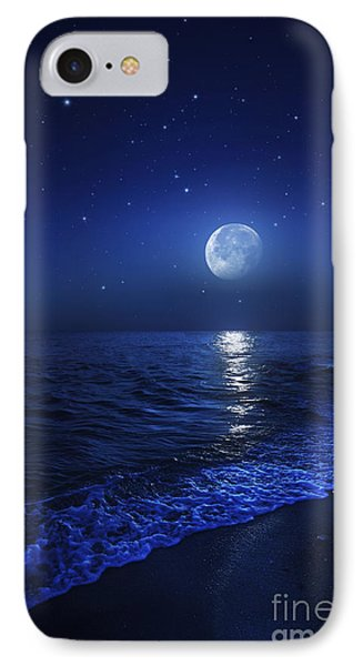 Tranquil Ocean At Night Against Starry IPhone Case by Evgeny Kuklev