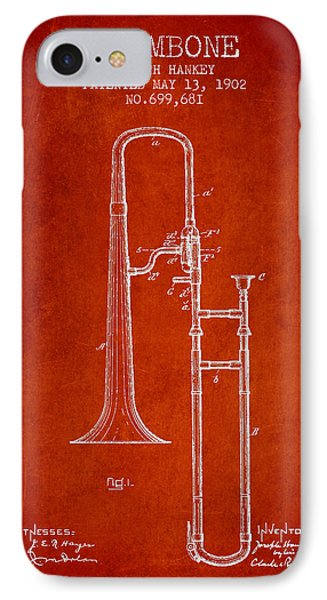 Trombone iPhone 7 Case - Trombone Patent From 1902 - Red by Aged Pixel
