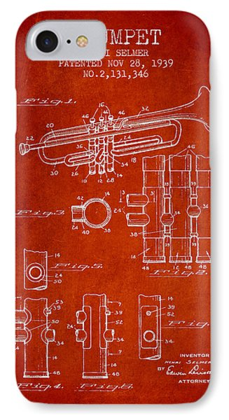 Trumpet Patent From 1939 - Red IPhone Case by Aged Pixel