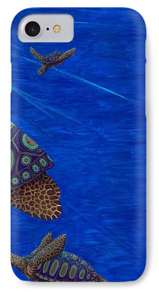 Turtle Painting Bomber Triptych 3 IPhone Case by Rebecca Parker
