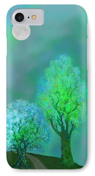 unbordered DREAM TREES AT TWILIGHT Phone Case by Mathilde Vhargon