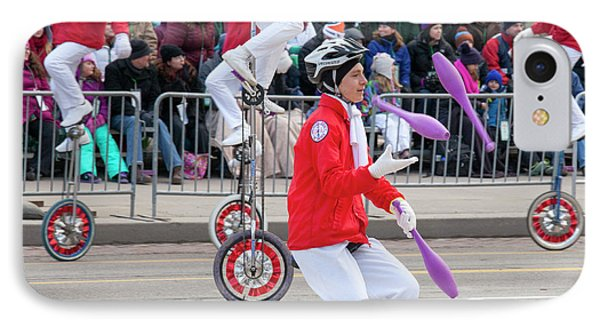 Unicyclists At A Parade IPhone Case by Jim West