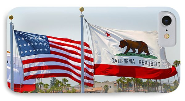 United States And California Flags IPhone Case by Barbara Snyder