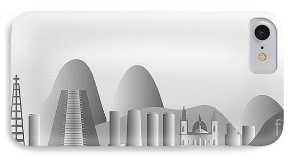 vector Rio de Janeiro skyline Phone Case by Michal Boubin