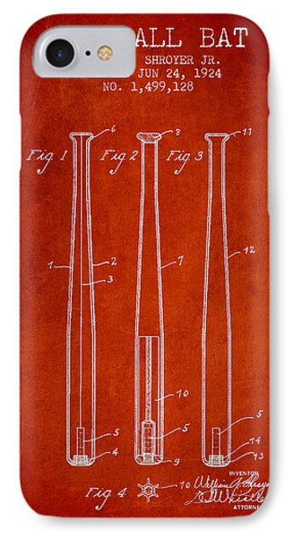 Vintage Baseball Bat Patent From 1924 IPhone Case by Aged Pixel