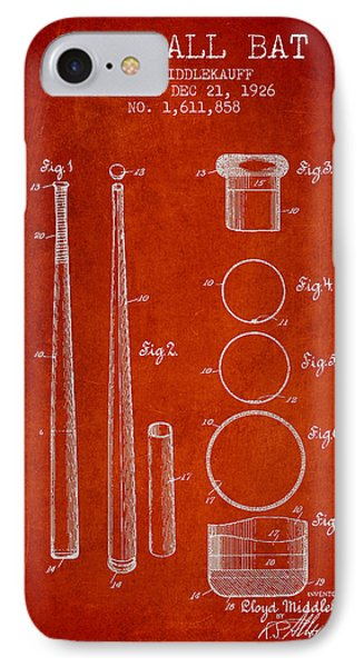 Vintage Baseball Bat Patent From 1926 IPhone Case by Aged Pixel