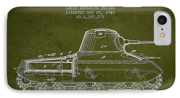 Vintage Military Tank Patent From 1945 IPhone Case by Aged Pixel