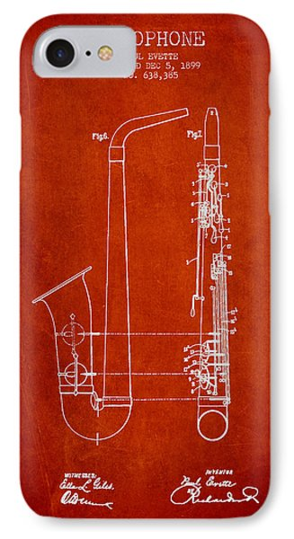 Saxophone Patent Drawing From 1899 - Red IPhone Case by Aged Pixel