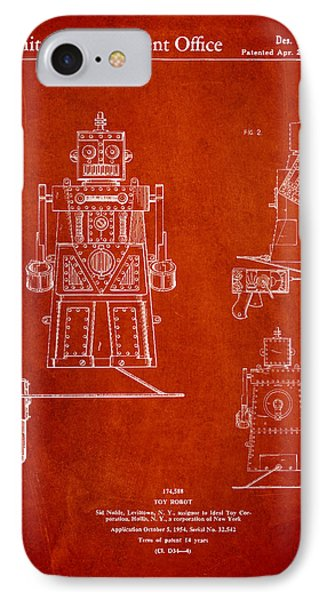 Vintage Toy Robot Patent Drawing From 1955 IPhone Case by Aged Pixel
