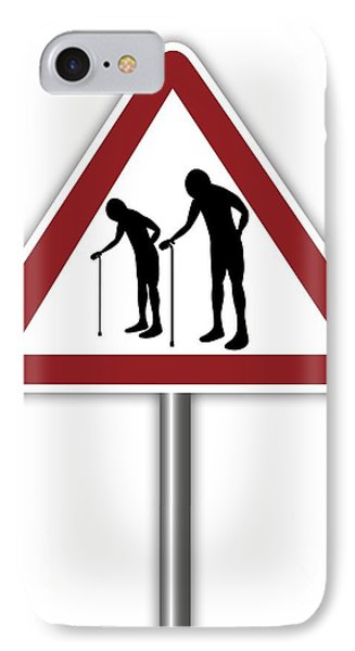 Warning Sign With Elderly People Symbol IPhone Case by Alfred Pasieka