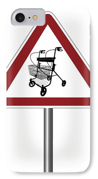 Warning Sign With Walking Frame Symbol IPhone Case by Alfred Pasieka