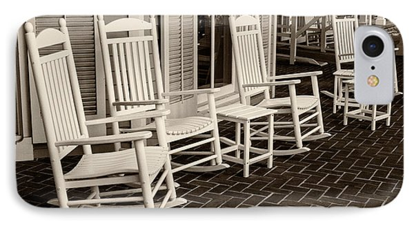 White Rockin Chairs IPhone Case by Iris Richardson