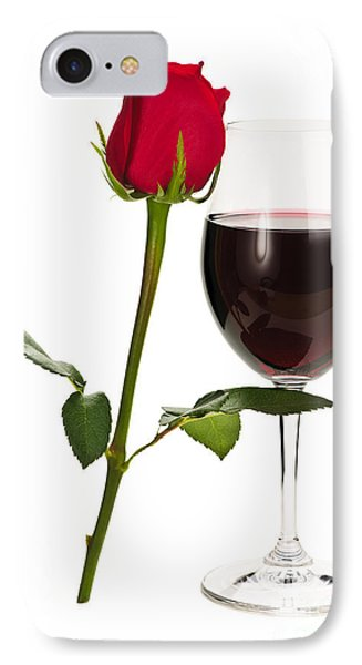 Wine With Red Rose Phone Case by Elena Elisseeva