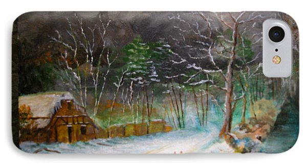 IPhone Case featuring the painting Winter Landscape by Egidio Graziani