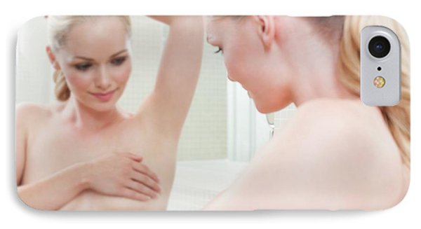 Woman Checking Her Breasts IPhone Case by Ian Hooton