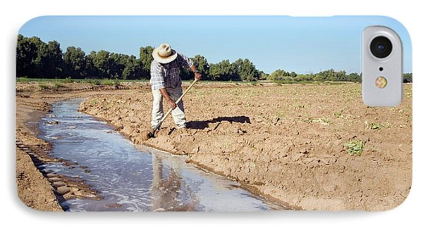 Worker Digging Irrigation Channels IPhone Case by Jim West