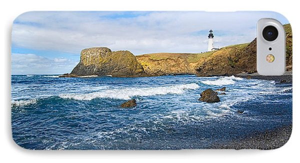 Yaquina Lighthouse On Top Of Rocky Beach Phone Case by Jamie Pham