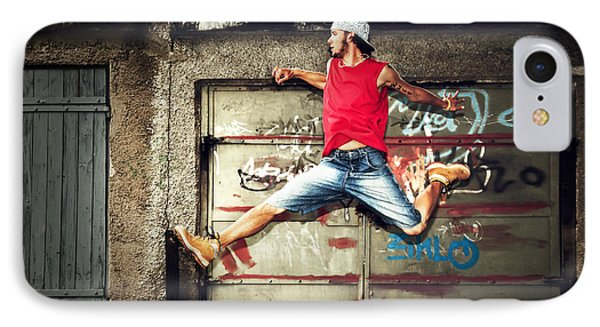 Young Man Jumping On Grunge Wall Phone Case by Michal Bednarek