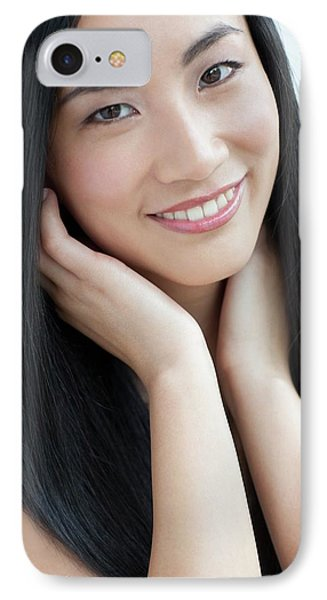 Woman Smiling IPhone Case by Ian Hooton