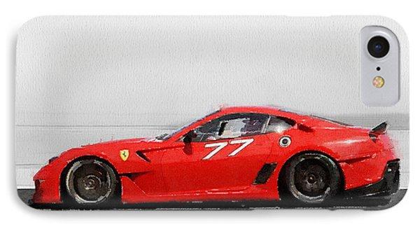 2006 Ferrari 599 Gtb Fiorano Watercolor IPhone Case by Naxart Studio