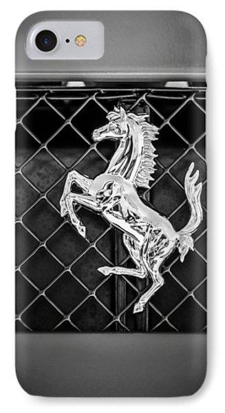 2007 Ferrari F430 Spider F1 Emblem -588bw IPhone Case by Jill Reger