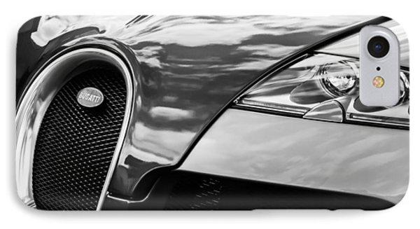 2008 Bugatti Veyron Grille Emblem -0621bw IPhone Case by Jill Reger