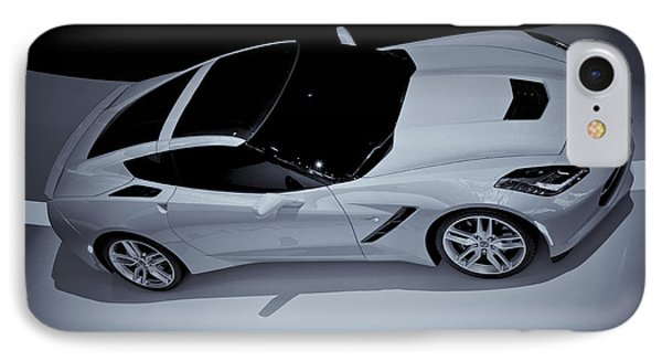 2014 Chevy Corvette  Bw IPhone Case by Rachel Cohen