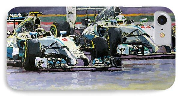 2014 F1 Mercedes Amg Petronas  Lewis Hamilton Vs Nico Rosberg IPhone Case by Yuriy Shevchuk