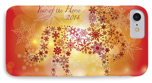 2014 Happy New Year Of The Horse With Snowflakes Pattern IPhone Case by Jit Lim