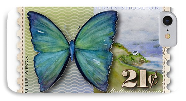 21 Cent Butterfly Stamp IPhone Case by Amy Kirkpatrick