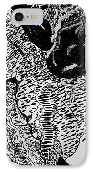 IPhone Case featuring the drawing Dinka Dance - South Sudan by Gloria Ssali