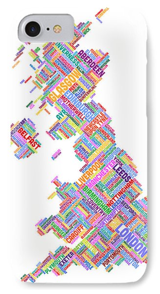 Great Britain Uk City Text Map Phone Case by Michael Tompsett
