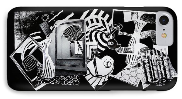 IPhone Case featuring the mixed media 2d Elements In Black And White by Xueling Zou