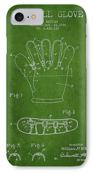 Baseball Gloves iPhone 7 Case - Baseball Glove Patent Drawing From 1922 by Aged Pixel