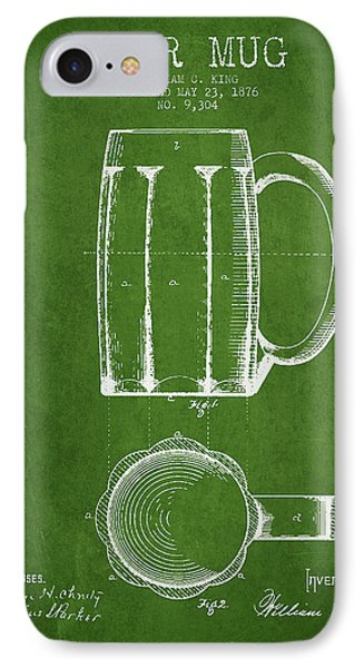 Beer Mug Patent From 1876 - Green IPhone Case
