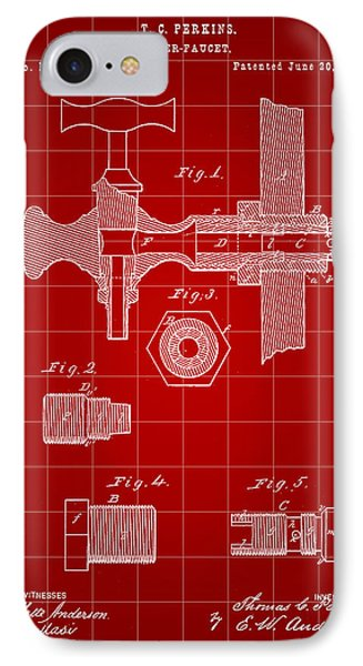 Beer Tap Patent 1876 - Red IPhone Case by Stephen Younts
