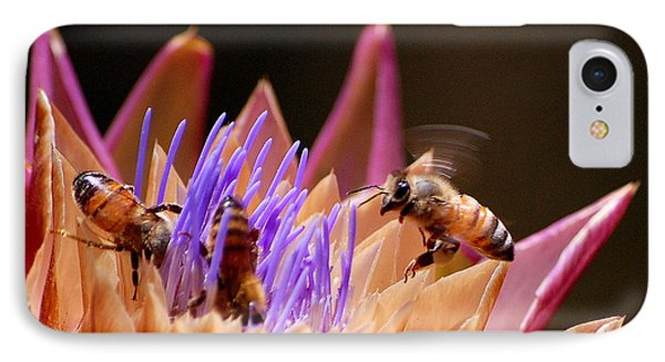 IPhone Case featuring the photograph Bees In The Artichoke by AJ  Schibig