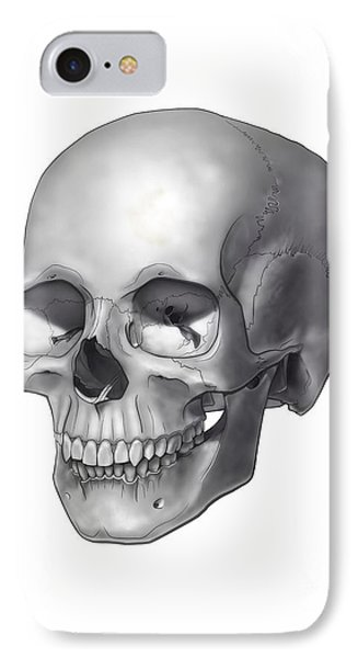 Black And White Illustration Of A Human IPhone Case by Nicholas Mayeux